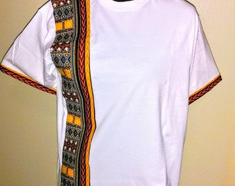 White shirt/Dashiki Print/African Fabric