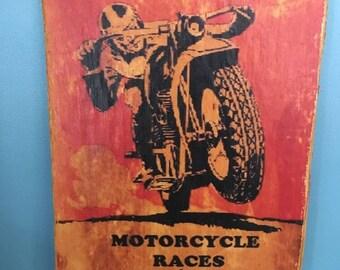 Vintage Style Motorcycle Sign, Race Harley Davidson Moto GP Daytona Beach Bike Week Man Cave Victory Indian
