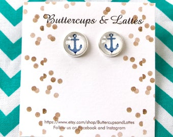 Navy Chevron Anchor Stud Earrings 10mm, Blue Nautical Anchor