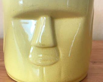 Whaler's Rum Tiki Face Yellow Mug Cup No Handle