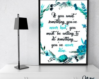 Do Something Different 8x10 Digital Print, Positive, Wall Art, Quote, Inspirational, Motivational, Typography, Instant Download, LQ006Blue