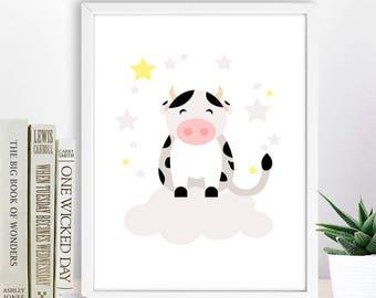 Cute Cow Illustration,  Farm Animal,  Baby Animal  Printable Wall Decor, Instant Download Digital Art, Kid Room Decor,  Nursery Animal Print