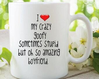 novelty mug i love my crazy boyfriend valentines gift birthday present anniversary gift boyfriend gifts mug
