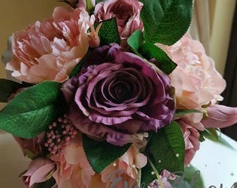 Artificial flowers floral arrangement silk flowers in a box home decor present peonies roses