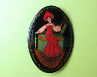 Artisan Wooden Pin of Woman - Signed - Russian