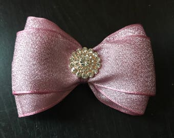 4inch double stacked rose gold/blush hair bows