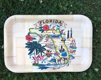Vintage 1960s Florida Souvenir Tray | Vintage Bamboo Florida Tray