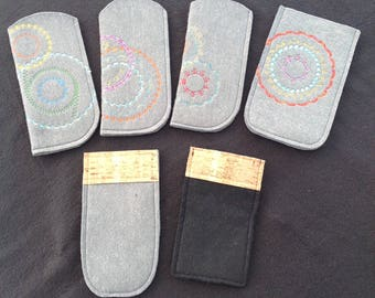 Handmade cases of felt for glasses or phones