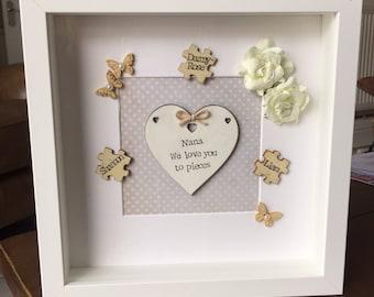 Love you to pieces! Handmade Nan/Mam/Dad Frame