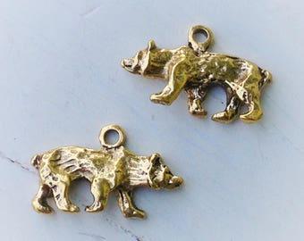 10 Antiqued Gold Bear Charms 14 x 24 x 4mm
