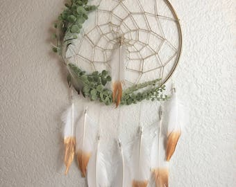 Boho dreamcatcher, gold dipped feathers dreamcatcher