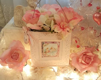 Vintage Shabby Chic Pink Metal Hanging Container Victorian Valentine Cherub Love Pink Heart Bucket Cupid With Roses and Lace