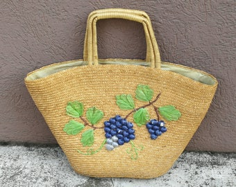 Embroidered Raffia bag with handles