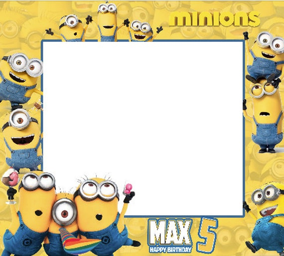 Minions birthday frames minions photo booth frame frame - Photo de minion ...