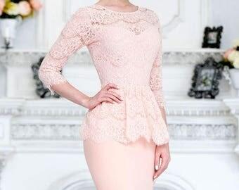 Powder Pink Long Skirt Lace Elegant Suite