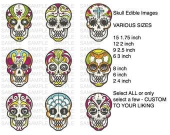 Skull Icing Sheet Edible Image Cupcake or Cookie Topper