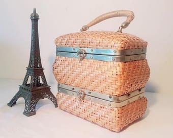 Boite a Bijoux en Rotin vintage