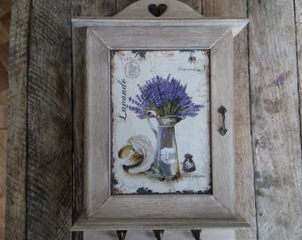 Wall key organizer,Wooden Key Box, Rustic wall cabinet,Key Cabinet, Key Storage,  lavender Key Holder, Rustic Home Decor,Shabby Chic Box