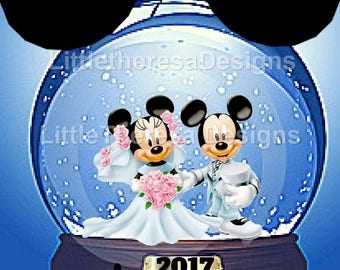 Mickey & Minnie Wedding Snow Globe Iron On Transfer