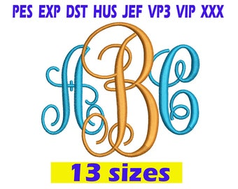Interlocking Monogram Embroidery Font / Interlocking Monogram Monogram embroidery design/ INSTANT download