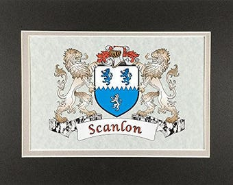 "Scanlon Irish Coat of Arms Print - Frameable 9"" x 12"""