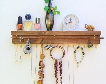 Jewelry organizer wall mount, reclaimed wood shelf, jewelry display, necklace holder, earrings display, key holder, wood shelf, gift for her