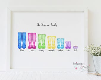 Family Wellington - Wellies vibrant print - New Home - Our Family
