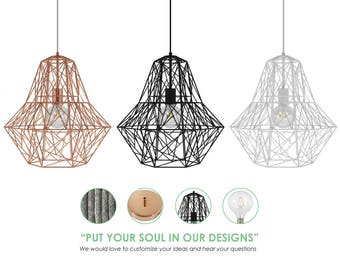 Cage Chandelier. Cage Pendant Lighting. XL Cage Lighting. Geometric Chandelier. Custom Lighting.