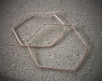 Hexagon Hoops / Rose Gold Hexagon Hoops / Lightweight Rose Gold Hoops / Textured Hoop Earrings / Rose Gold Earrings