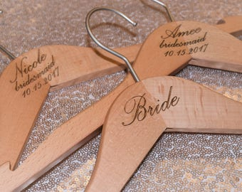 Personalized Engraved Beech Wood Wedding Party Hangers | Wedding Dress Hanger | Accessories | Photo Prop | Decor | Laser | Engraved |