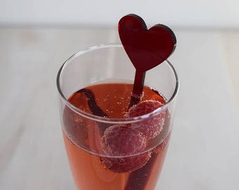 Acrylic Heart Drink Stirrers | Set of 6 | Parties | Events | Holidays | Wedding | Engagement | Shower | Decor | Acrylic | Laser Cut