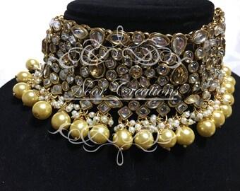 Kundan/Pearl Chocker Set with Matching Tikka and Earrings