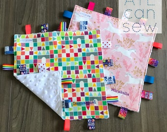 MADE TO ORDER: Baby Taggie Blanket (standard size)
