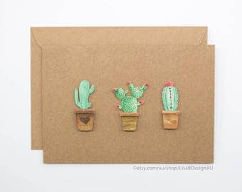 Cactus Card | Handmade Card | 3D Stickers | Kraft Card | Cute Stickers | Cactus Stickers | Potted Succulents | GCHCL01