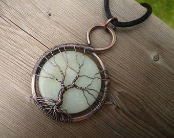 tree of life pendant, wire wrap jewelry, tree jewelry, copper tree wrapped stones, jade pendant tree of life necklace pendent handmade, Etsy