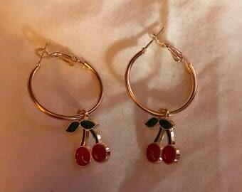 Small cherry hoop earrings