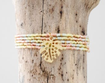 Bracelet Bohemian chic fine multi-turn in yellow, coral, pastel green Miyuki seed beads and gold 24 k and philodendron leaves