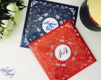 SAMPLE Foil print Square Laser cut wedding invitation set
