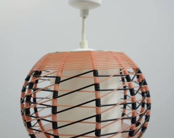 Vintage Pink and black pendant ceiling lamp 50s