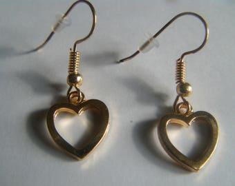 Gold metal heart earrings