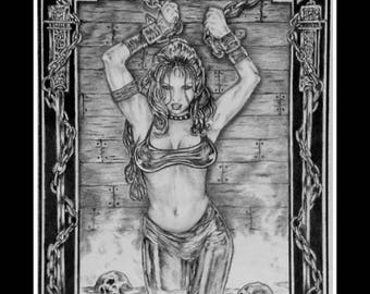 "Graphite Drawing Original -"" The Captive"" - Art & Illustration - Fantasy Art - Wall Art - Pencil Drawing"