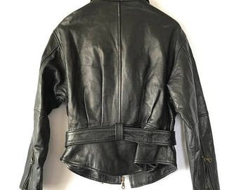 ON SALE 80s 90s Leather jacket, Perfect Vintage Leather Motorcycle Jacket, Size Small