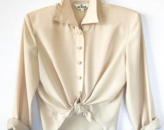 90s Vintage Hugo Valentino Button-up Blouse, Size Small