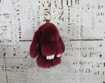 "Wine rabbit fur bunny key chain, 6"""