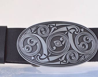 Leather Belt with Maori Tattoo Black Silver Buckle
