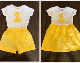Twins Brother Sister Matching First Birthday Outfits - Smash Cake Outfits - Onesie Dress and Onesie with Shorts