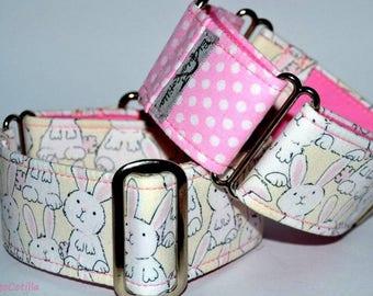 Bunnies - Martingale collar for galgos, greyhound, dogs, adjustable, 100% cotton. El Galgo Cotilla