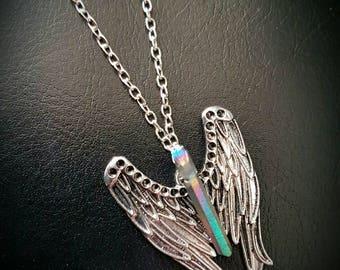 rainbow-colour titanium matt AURA QUARTZ CRYSTAL point  guardian angel necklace. (chain/silver/gemstone/stone/crystal/healing/pagan)