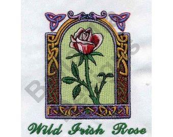 Irish - Machine Embroidery Design, Rose, Wild Irish Rose