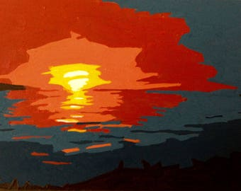 ACEO Original Painting: Sunset Over Water